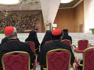 Here's the Pope speaking. Note he stands rather than sits as his predecessors tended to do. The Cardinal in front of me is Charles Bo of Myanmar. Not sure who the veiled Orientals in front of him might be.