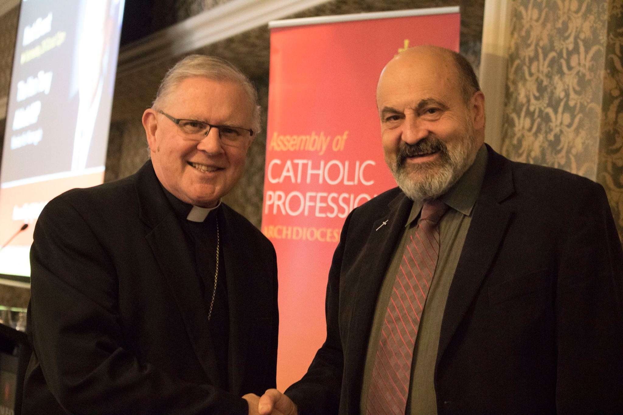 Archbishop Mark Coleridge at the Assembly of Catholic Professionals with Msgr Tomas Halik