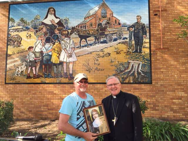 Unveiling and blessing of a mural of St Mary MacKillop in Maryborough