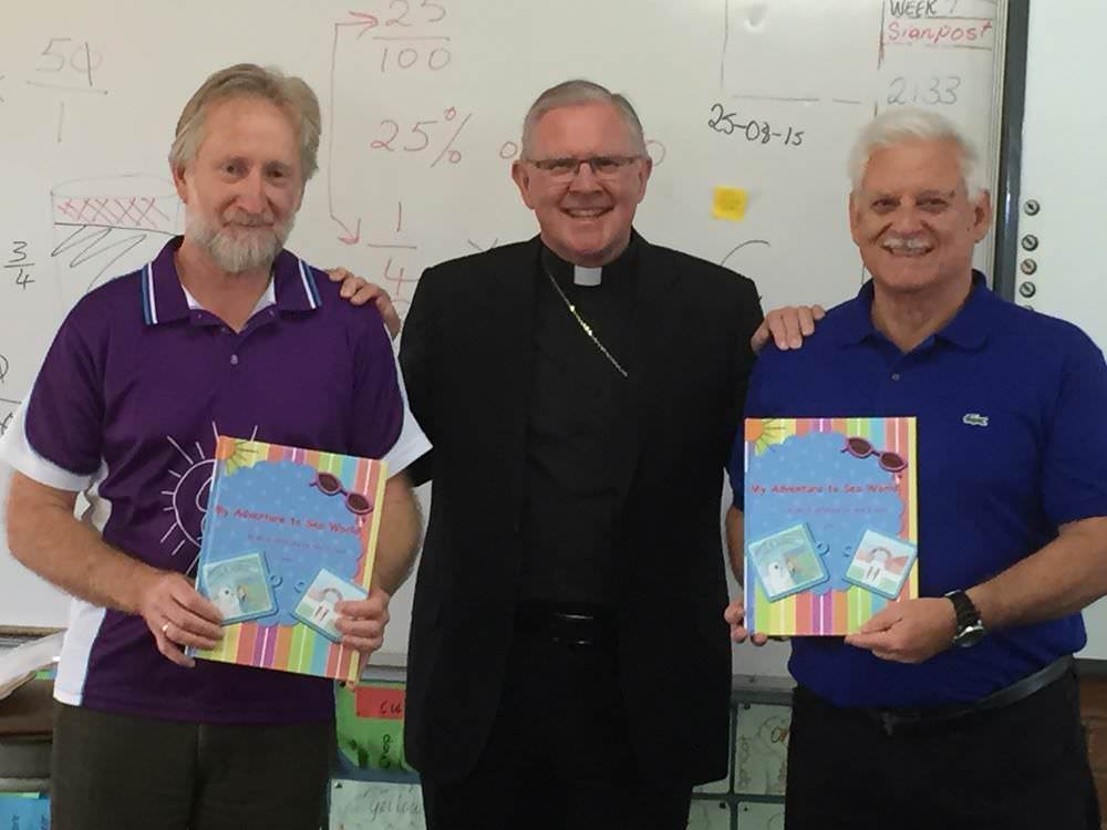 Visit to Holy Spirit School Bray Park - staff member Bernard Griffith and Principal Mr Jeff Hall