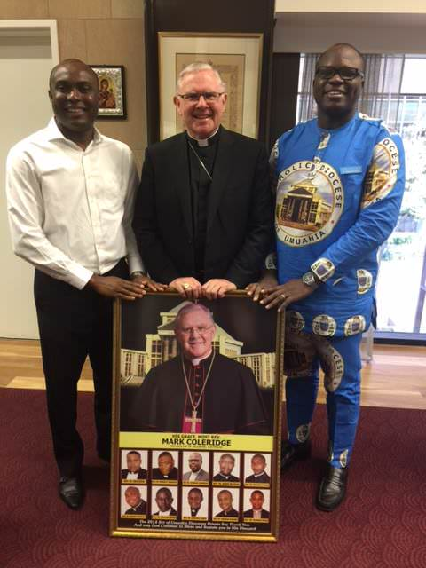 Archbishop Mark Coleridge with two of our young Nigerian priests whom he ordained last year in Nigeria - Fr Nicholas Okafor and Fr Chukwudi Chinaka